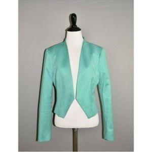Bebe teal textured asymmetrical crop blazer